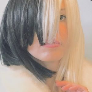 Sia singer half blonde half black wig Halloween